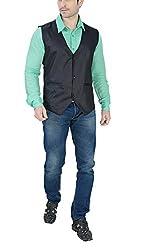ABC Garments Mens Modern Fit Nehru Jacket (ABC01-Black_XXL)