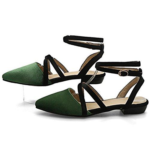 COOLCEPT Femme Mode Croise lacets sandales Plat Slingback Bout Ferme Chaussures taille Vert