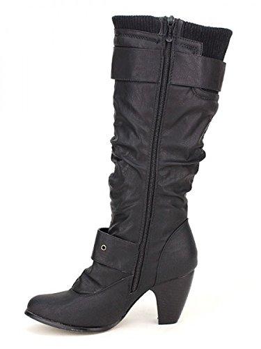 Cendriyon, Botte Look BELLOSSIMA Guêtre Chaussures Femme Noir