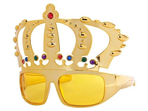 Alsino Sonnenbrille Funbrille Spaßbrille König Partybrille Krone gold mit bunten Strass 51