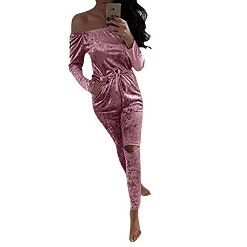 Vovotrade Femmes Sexy Off épaule Shiny Velvet Jumpsuit Ladies Evening Party Rompers Rose