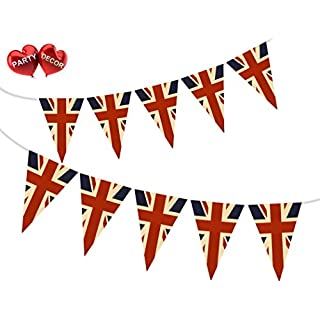 Party Decor Vintage British Union Jack Patriotic Themed Bunting Banner 15 flags for guaranteed simply stylish party National Royal decoration by