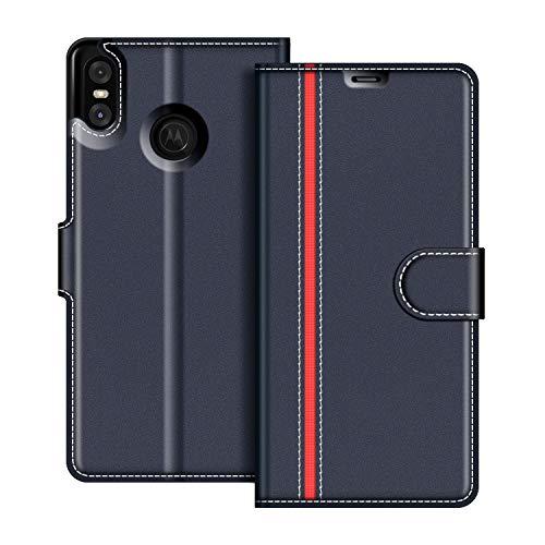 coodio Motorola One Hülle Leder Lederhülle Ledertasche Wallet Handyhülle Tasche Schutzhülle mit Magnetverschluss/Kartenfächer für Motorola One, Dunkel Blau/Rot