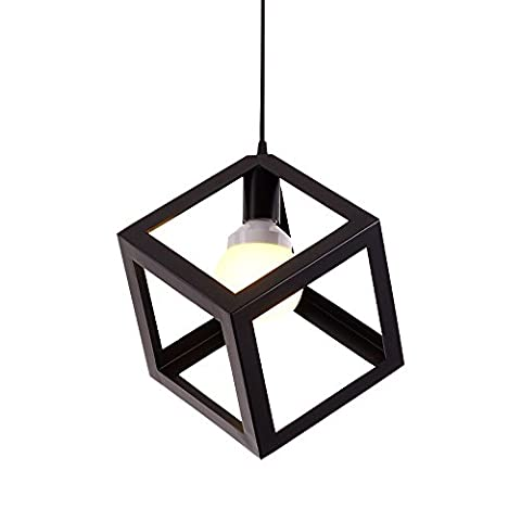 Simple Fashion Pendant Lights Retro Industrial Ceiling Light Metal Black Loft Bar Ceiling Light Creative Square Shape Iron Art Chandelier E27 110-240 Volts AC