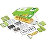 Mak World Stainless Steel Multi-Functional Adjustable Vegetable And Fruit Chopper Dicer With Storage Container, 12-Piece, Green