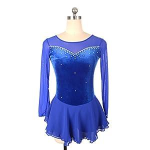 Heart&M Eiskunstlauf Kleid Frauen und Mädchen Eislaufen Leistung Kleid Handmade Strass Stretchy Velvet Langarm Skating Wear Blue