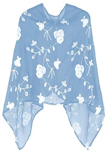 dy_mode Damen Poncho Leichter Cape mit Blumen Bestickung - WJ037 (WJ037-Zartblau) Blauer Poncho
