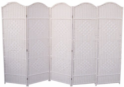 ROOM DIVIDER SCREEN WICKER 5 PANEL PARTITION SPLITTER WHITE