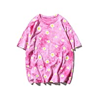 DUe Womens Casual Flower Pattern Summer T Shirts Loose Blouse Top Pink M