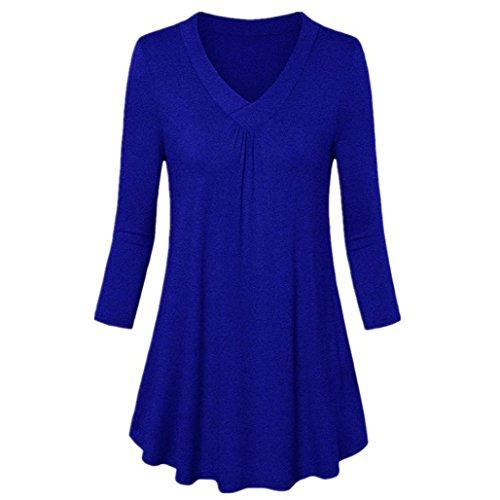ode Sommer Herbst Beiläufige Schal Übergröße Solide V-Ausschnitt Langarm Plissee T-Shirt Tops Bluse(Blau,EU-52/CN-5XL) ()