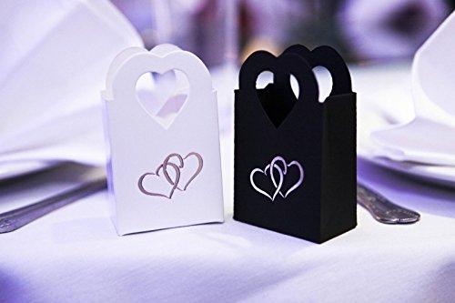100 pezzi scatole portaconfetti bomboniere con manico cuore elegante bianco e nero matrimonio (50pz bianco & 50pz nero)