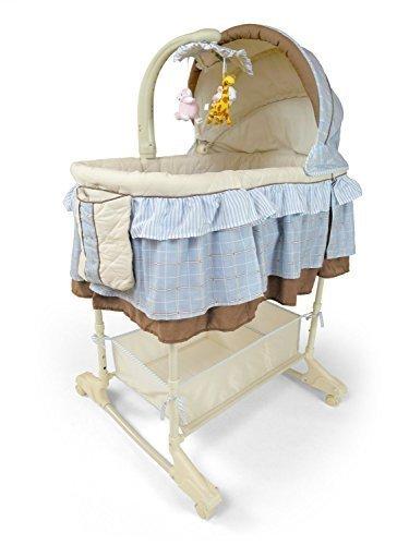 Best For Kids Wiege Stubenbett 4 in 1 Schaukelwiege Babybett mit Melodie, Vibration, Licht, Nachtlampe und Schaukel mit Fernbedienung in zwei Farben zur Auswahl. (Blau) (Stubenwagen Schaukeln)