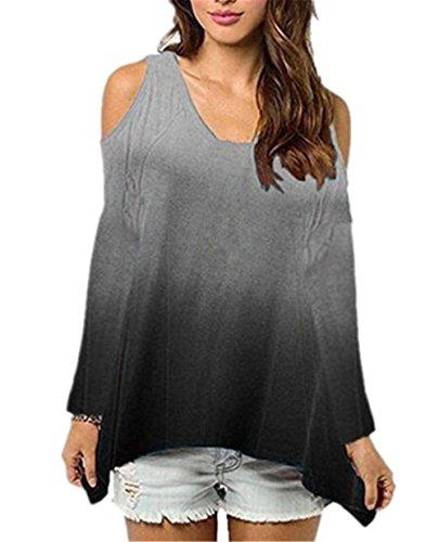AILIENT Maglie Sexy Fionda Senza Spalline Donna Maglietta Manica Lunga Girocollo Allentato Camicetta Eleganti T-Shirt Top Casuale Black