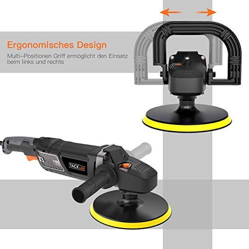 Poliermaschine, Tacklife 1500W Polierer mit Variable Geschwindigkeit, LED-Display, 180mm Polierteller/polieren Pad/Wollscheibe, D-Griff/Zusatzhandgriff geeignet/PPGJ01A