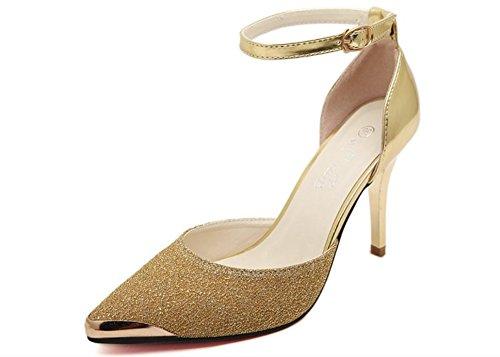 Chaussures d'été pointé à air de côté de couleur métal sort Qu'asakuchi talons très bien avec les sandales Gold