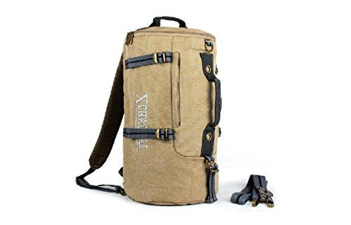 Outdoor Peak multifonctionnel portable sac à bandoulière toile sac à bandoulière sac de sport sac de voyage homme Voyage sac à dos sac à dos en toile Compartiment sac kaki Größe: 47 * 27 cm