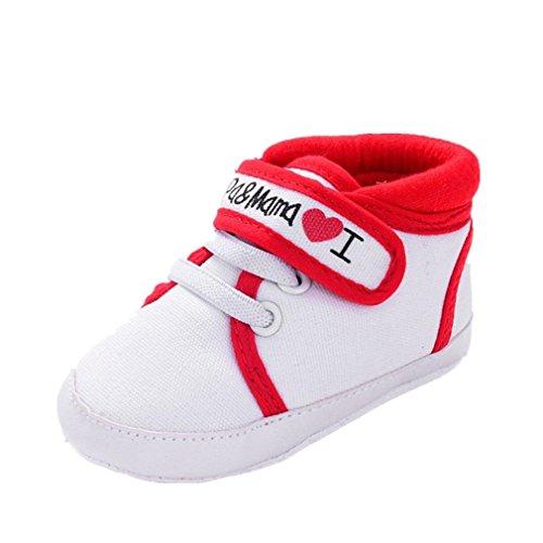 Scarpe neonato unisex in pelle morbida - ricamo a forma di cuore - sneaker antiscivolo (età: 6~12 mesi, rosso)