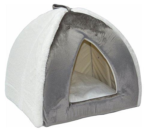 nanook Hundehöhle Katzenhöhle Iglu Jack - grau/weiß - Plüsch - 48 x 46 cm - mit herausnehmbarem Kissen