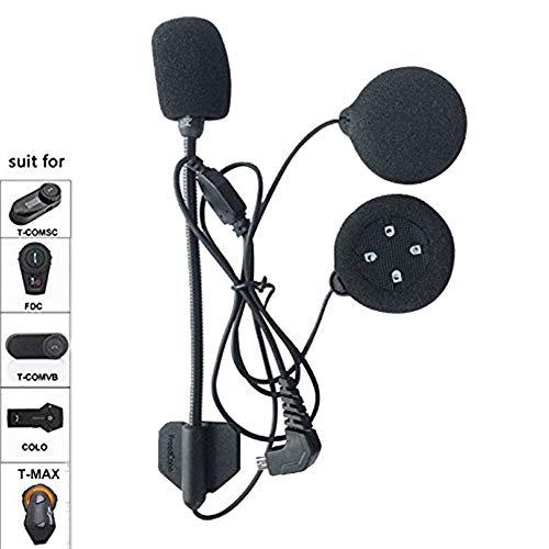FreedConn microfono cuffie con cavo duro, per TMAX/T-COMVB/T-COMSC casco del motociclo di Bluetooth Interphone Moto Intercom,Cuffie ad alta definizione con 4 altoparlant