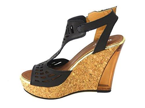 Mesdames pour femme Soutien-gorge Effet Boucle Haute Wedge Talon Plateforme en liège Peep Toe chaussures sandale différents Designs Taille 345678 Noir