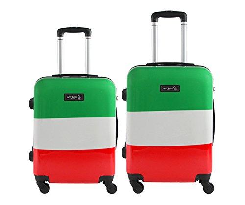 Coppia di 2 trolley da cabina - Valigie rigide 4 ruote in abs policarbonato supe leggero - Approvato dalle compagnie low-cost art bandiera italiana