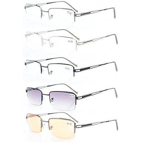 5-pack Eyekepper metallo di rettangolo Half-cerchio Primavera Cerniere Occhiali da lettura Includere i lettori (Rettangolo Computer)