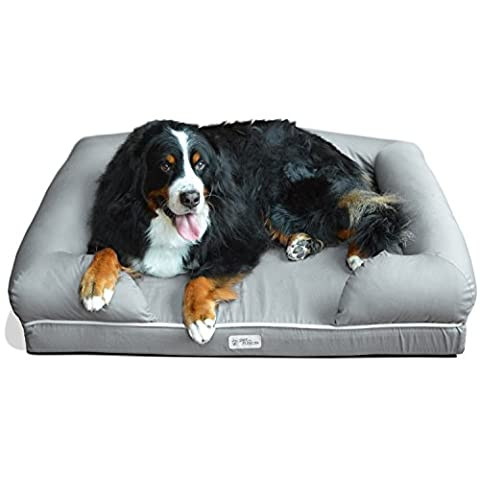 PetFusion Ultimate Dog Bed & Lounge. (X-Large Slate Gray, 112 x 87 x 26 CM). Premium Edt Solid 10.5CM Memory