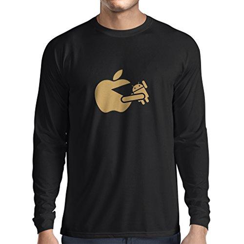 N4212L T-Shirt mit langen Ärmeln Lustige Apfel isst einen Roboter Unisex T-Shirt Schwarz Gold