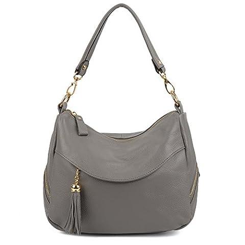 Yaluxe Ladies Elegant Genuine Leather Medium Size Tassel Handbag Shoulder Bags-Grey
