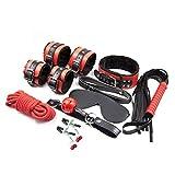 BONDAGERIE Kit colore Nero e Rosso, 8 pezzi in Ecopelle, sacco in raso in omaggio