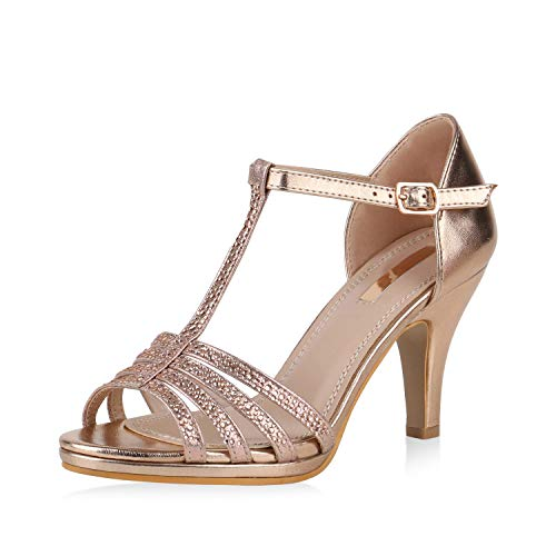 SCARPE VITA Damen Pumps Sandaletten Leder-Optik Riemchensandaletten Strass Metallic Party Schuhe Elegante Stiletto Mid Heels 168106 Rose Gold 40