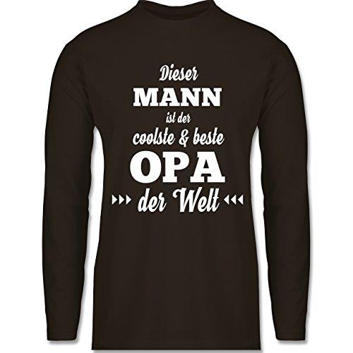 Shirtracer Opa - Dieser Mann ist der Coolste und Beste Opa - Herren Langarmshirt Braun