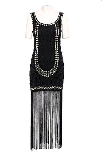 Babeyond Frauen Flapper Kleider 1920er Jahre Stil Vintage Gatsby Damen Kleid mit Troddel Schwarz Abbildung 2