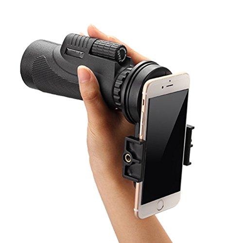 UEETEK 12x50 Monocular Teleskop Kamera Objektiv Spirale Okular Smartphone Tele Zoom Objektiv mit Universalklemme für Reisen / Wandern / Konzert