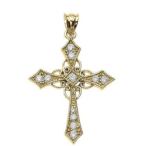 10K Or jaune Diamant Croix celtique Pendentif Fine
