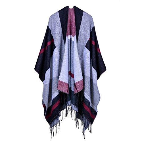 Honghu Cape Poncho Femme Tricot,Poncho Capes Châle Ouverture Extra Large écharpe Châle Poncho Automne Hiver Blanc