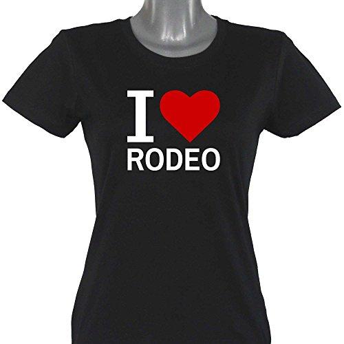 T-Shirt Classic I Love Rodeo schwarz Damen Gr. S bis XXL, Größe:XXL (Rodeo T-shirts Für Frauen)