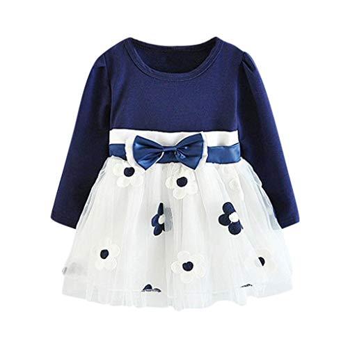 Livoral Baby Madchen Strampler Kleinkind scherzt Baby-Lange Hülsen-Tüll-Patchwork-Blumen-Bogen kleidet Kleidung(Blau,120)