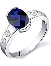 Blauer Saphir-Ring 1,75 cts und 925-Sterlingsilber - Blue Pearls -