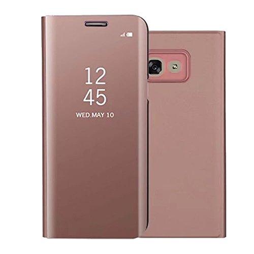 Shinyzone Spiegel Hülle für Samsung Galaxy A5 2017, Stilvoll Roségold Klar Spiegel Leder Handyhülle [Galvanotechnik] Faltbare Standfunktion,Hart Bumper Stoßfeste Schutzhülle