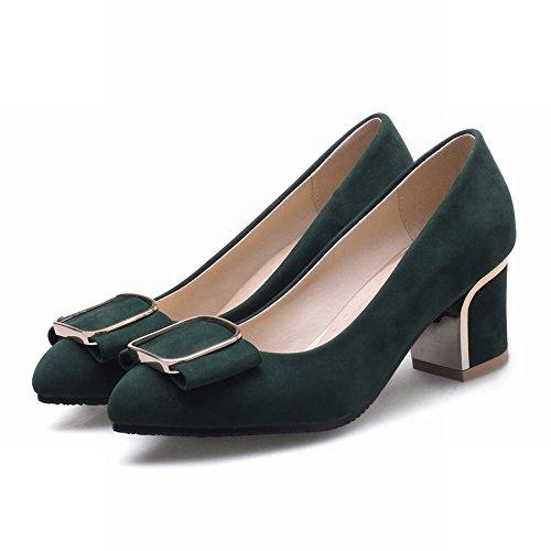 MissSaSa Donna Sottile col Tacco Metà Pumps Elegante e Fashion Verde scuro