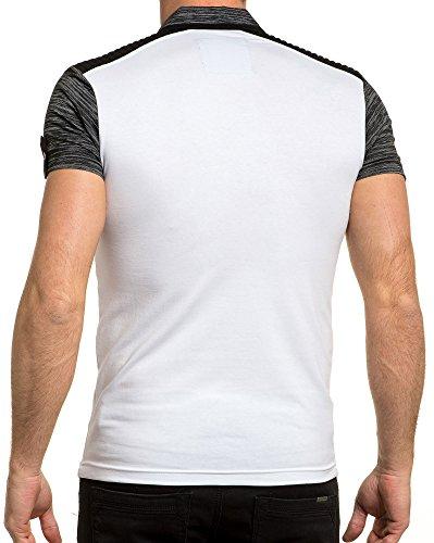 BLZ jeans - Gesteppt weiß gestreiften Polo und Männer Weiß
