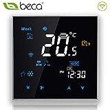 Beca 3000 Series 95 ~ 240VAC programmierbarer Thermostat Zwei / Vier Rohr für Klimaanlage Fan Coil mit Wifi-Anschluss für Unterstützung Intelligent Voice (Vier Pfeife, Schwarz)
