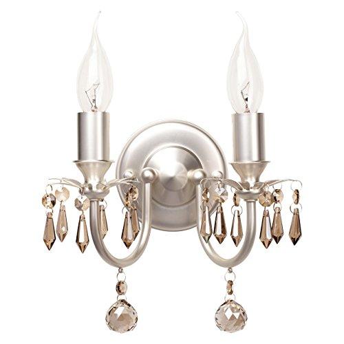 Applique lussuosa metallo pitture perla vetro colore cristallo champagne in stile classico 2-bulb exl, E14 2x60W 230V