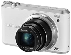 Samsung WB350F 16.2MP CMOS Smart WiFi and NFC Digital Camera with 21x Optical Zoom and 3.0-inch Touchscreen LCD (White), 4GB Card, Camera Case