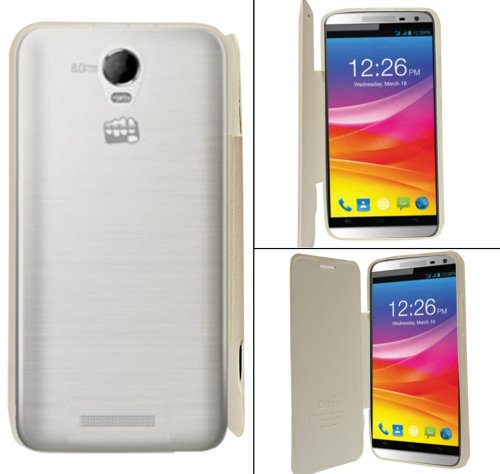 Micromax Canvas Juice 2 AQ5001 Premium Flip Cover Diary Folio Case Cover - White  available at amazon for Rs.184
