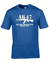 Naughtees clothing AK47, killing capitalists since 1947 T-shirt. Tongue in cheek tribute to the most used weapon in modern warfare.
