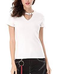 Keno camiseta mujer - V-cuello - 95% algodón - T shirt de moda - L