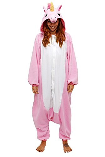 Chicone Unicorno Kigurumi Pigiama Adulto Bambini Anime Cosplay Halloween Costumi Unisex, Rosa, M (Height 160-169cm)
