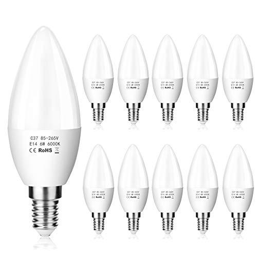 ZIKEY E14 LED 6W Kerze Glühbirne, 600 lm, 6000K Kaltweiß, Ersetzt 50W Lampe, C37 LED Leuchtmittel, Kleine Edison Schraube | Nicht dimmbar, 10er Pack